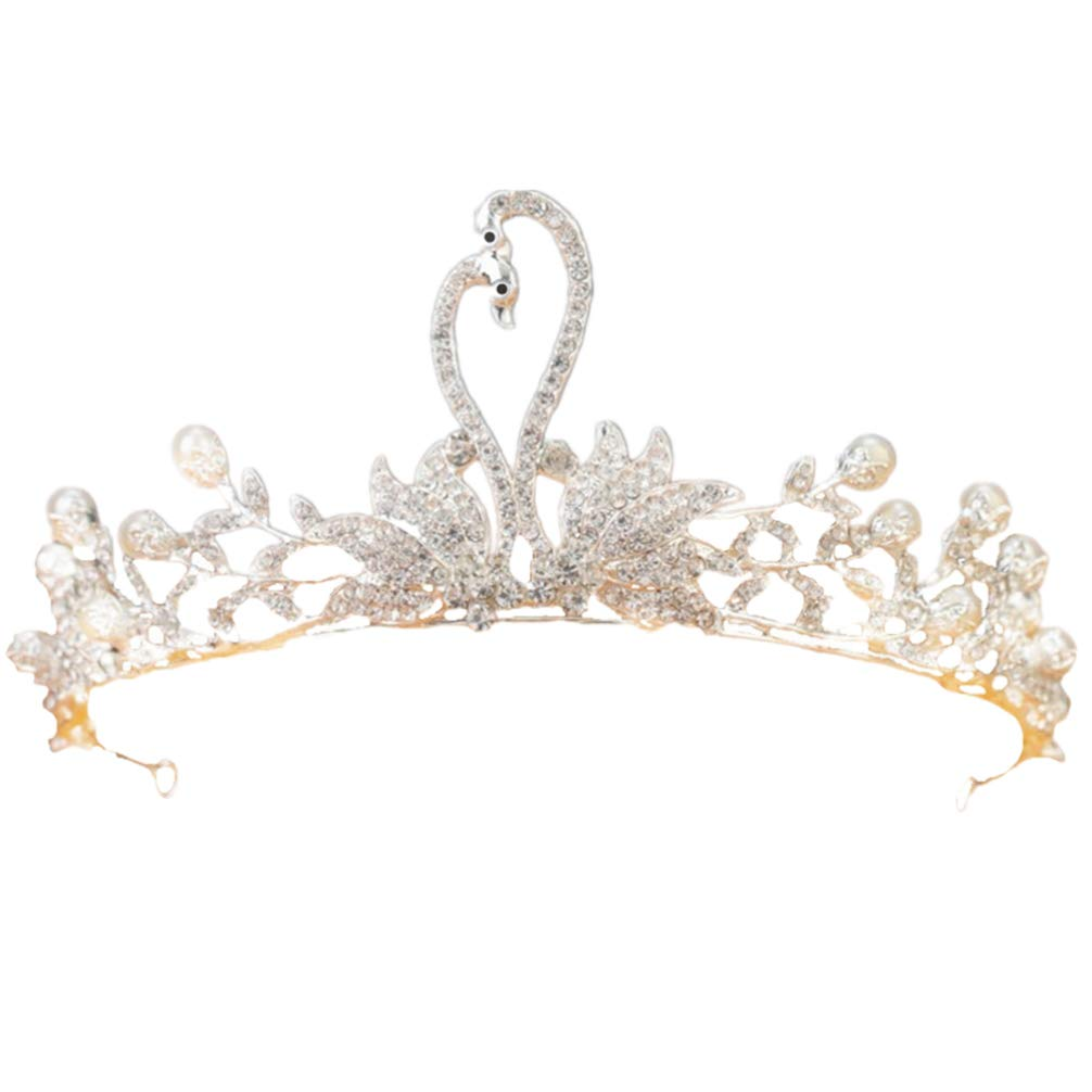 Toyvian Kids Princess Rhinestone Crown Pearl Girl Headpiece Birthday Hair Accessories for Girls Toddler Kids by Toyvian