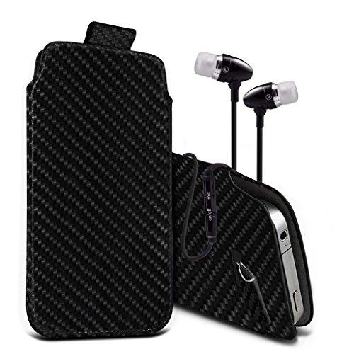 (Black Carbon 156,1 x 77,9 mm) Beutelkasten für Mobiwire Kwanita Fall Carbon-Effekt-Qualitäts-Pull Tab-Schlag-Beutel-Haut, Fallabdeckung Mobiwire Kwanita Fall mit gehärtetem Glas 5,5 Zoll 5,5 Zoll von Pull tab + aluminium earphones
