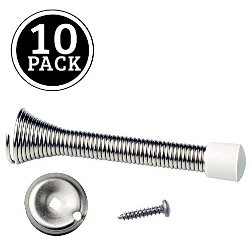 10 Pack of Satin Nickel Spring Door Stops - 3 ¼ Inch Heavy Duty Door Stop - Traditional Spring Door Stop Satin Nickel w/Rubber Bumper by Ilyapa