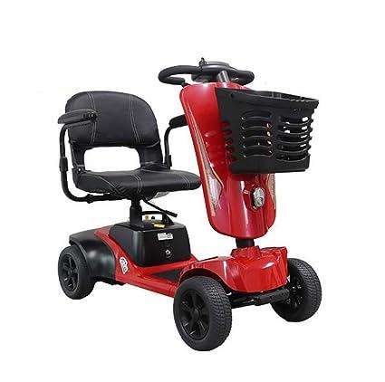 Awsgtdrtg Minusválidos Scooter/Moto para Personas Mayores Plegable-2-8 mph (Rojo