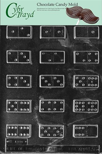Cybrtrayd M036 Dominoes Chocolate Candy Mold with Exclusive Cybrtrayd Copyrighted Chocolate Molding Instructions Domino Chocolate