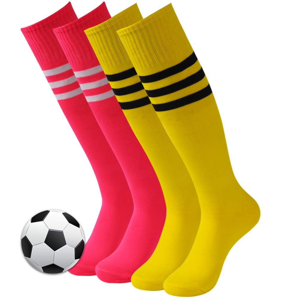 3street Long Baseball Socks, Adult Youth Knee High Length Triple Striped Wicking Moisture Athletic Long Football Soccer Socks for School Uniform Yellow Hot Pink 4 Pairs by Three street