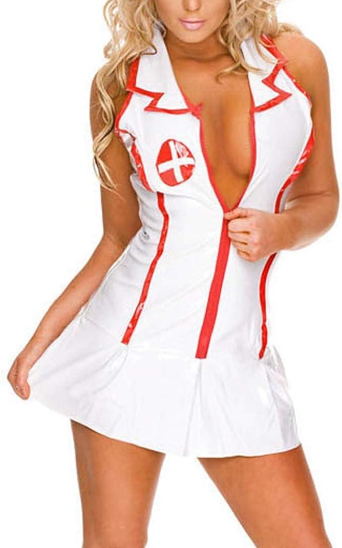FONDBERYL Mujer Lencería Cosplay Enfermera Disfraz Bodysuit ...