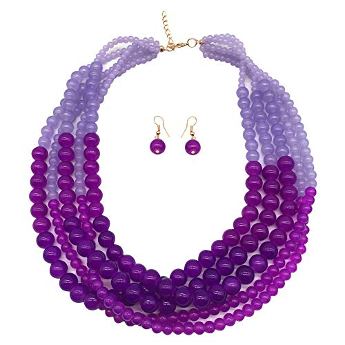 - JHWZAIY 5 LayersStone Beads Statement Beaded Layered Strands Necklace Earrings Set (Purple)