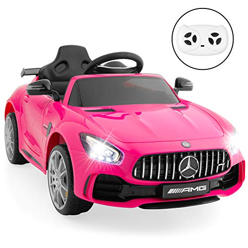 Best Choice Products Kids 12V Officially Licensed Mercedes-Benz GTR Ride On Car w/Parent Remote Control, AUX Port for Music, Head & Tailights, Functional Doors & Sounds - Pink