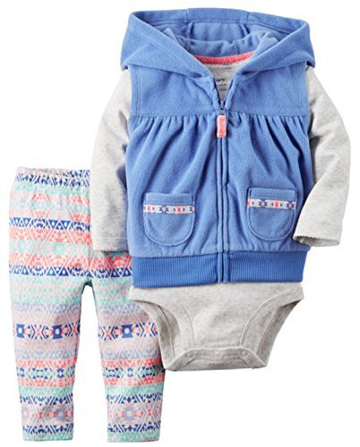 Carter's Girl's Lavender Hoodie Vest 3-Piece Set (12 Months)