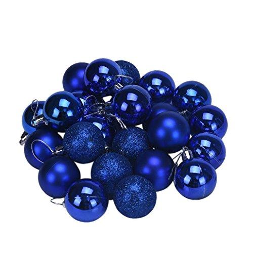 Sumen 24pcs Plastic Christmas Tree Ornaments Balls New Year Decoration (Blue)