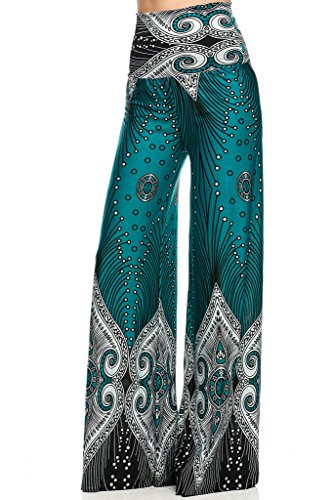 3232 Tribal print, knit palazzo pants with a high fold-over waist and a wide leg