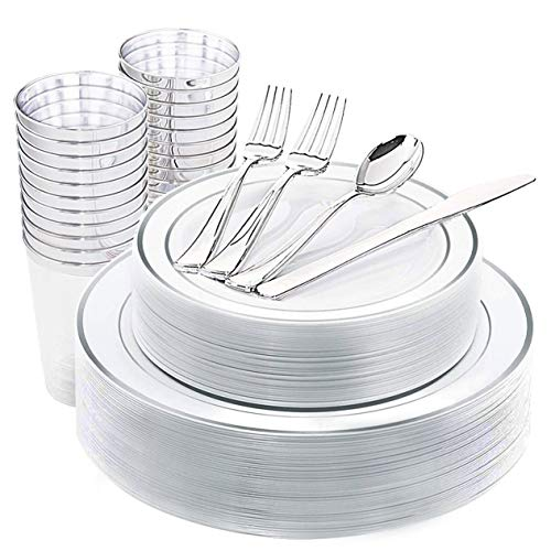 25Guest/175pcs Silver Disposable Plastic Plates&Cutlery [Plastic Silverware] 25 of each: Dinner Plates/Salad Plates/Knives/Spoons/Cups+ 50 Plastic Forks. Thanksgiving, Wedding, Party Decoration Favors]()