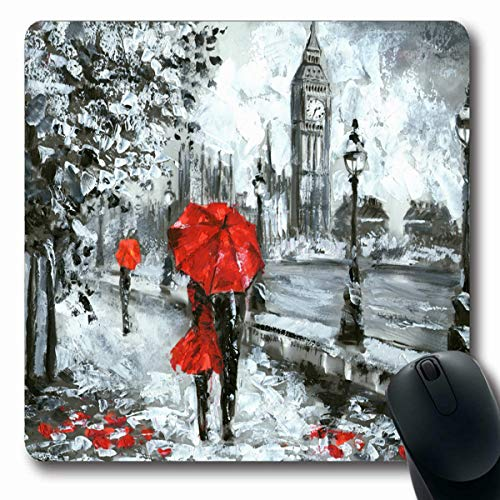 Tobesonne Mousepads Watercolor City Street View London Black White Abstract Red Big Ben Famous Design Drawing Oblong Shape 7.9 x 9.5 Inches Non-Slip Gaming Mouse Pad Rubber Oblong ()