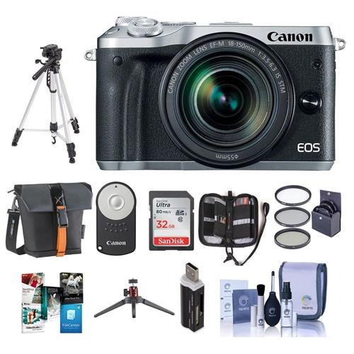 Canon-EOS-M6-Mirrorless-Digital-Camera-Black-with-EF-M-18-150mm-f35-63-IS-STM-Lens-Bundle-With-Holster-Case-32GB-SDHC-Card-Tripod-Remote-Controller-55mm-Filter-Kit-Software-Package-And-More