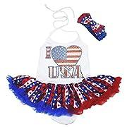 4th July I Love USA Heart Halter Bodysuit Stripe Star Baby Dress Nb-2y (6-12month)