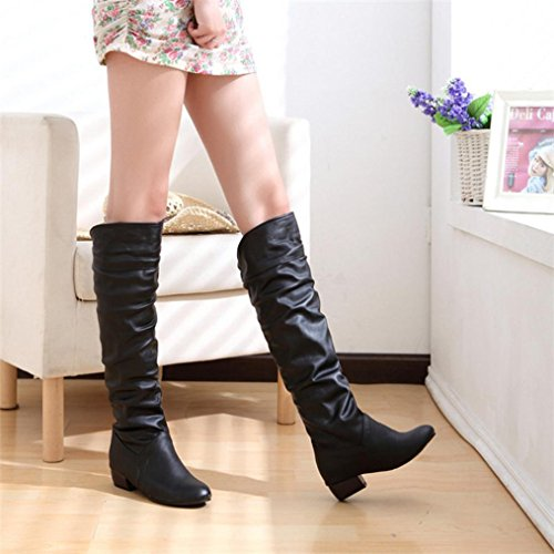 Hatop Women Boots, Womens Winter Warm Knee High Boots High Tube Flat Heels Riding Boots Black