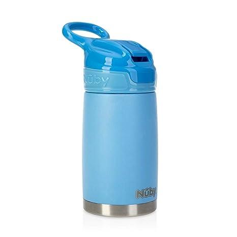 Nuby Sippy Cup, botella de agua de acero inoxidable para niños, azul mate, de