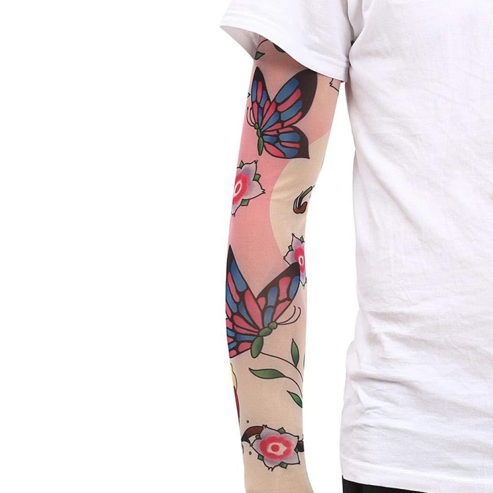 Ffooxxii Tattoo Sleeve Flower Arm Tattoo Summer Ice Silk Sun Visor Gloves Sleeve Men Long Ride Run Men Ice Sleeve Women@One size_24 models 2