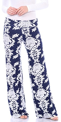 Popana Women's Casual Wide Leg Boho Flare Floral Print Palazzo Pants Made In USA Medium Navy ()