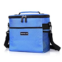 Insulated Lunch Bag, Cooler Bag, Travellor® Durable Freezable Insulated Cooler Bag box for Outdoor Picnic Fishing Camping Sports (Insulated Bag, Blue)