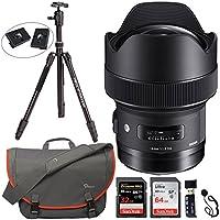 Sigma 14mm f/1.8 DG HSM Art Lens for Nikon F, Davis & Sanford Tripod, Sandisk Ultra SDXC 64GB Memory Card, SanDisk Extreme PRO SDHC UHS-I 32GB, Lowepro Messenger Bag and Accessory Bundle