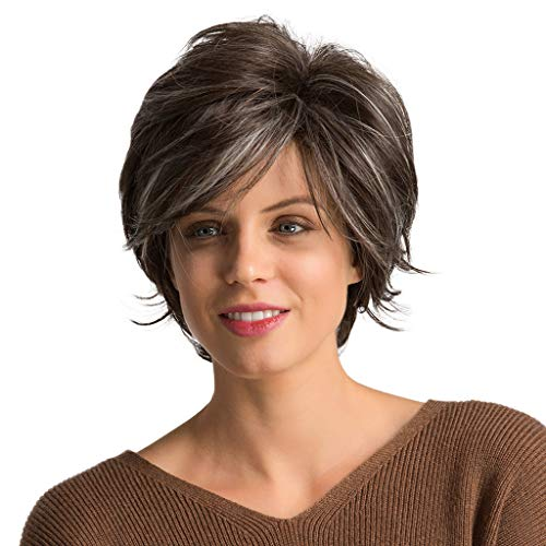 Iusun Wigs,10'' Women's Full Front Heat Short Straight Brown Head Resistant Synthetic Wigs Full Straight Hair Cosplay Costume Wigs Daily Party Anime Hair Wig High Temperature Fiber (Brown)