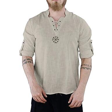 4b45a575858b Amazon.com: Mens Cotton Linen t Shirts,Donci Cool Thin Loose Comfy ...