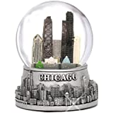 Chicago Snow Globe, Silver Base and Color Inside Glass Globe, Chicago Skyline and Landmarks