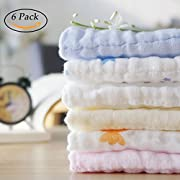 NANPIPER Muslin Baby Towels Set 6 Pack 12x12 inches 100% Cotton Baby Bath Towels for Girls Boys Extra Soft Baby Washcloths with Hook