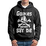 FALKING Men's Funny Cotton Goonies Music Never Say Die Pullover Sweatshirt L Black