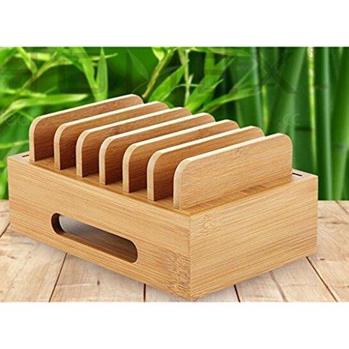 Homyl Bamboo Mobile Phone Holder Mount Station Wooden Desktop Tablet Dock Cradle by Homyl (Image #2)