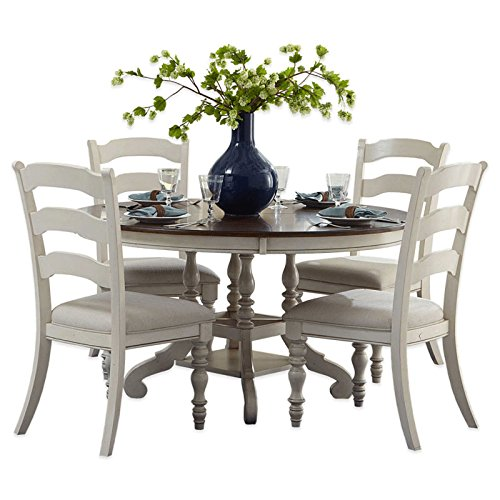 5-Piece Oval Dining Set with Ladder Back Chairs in Old White