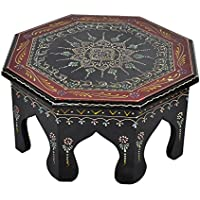 Jaipuri Hand Panited Work Design Wooden Decorative Stool End Table For Christmas Gift 12 X 12 X 6 Inches