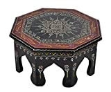 Cheap Lalhaveli Jaipuri Hand Panited Work Design Wooden Decorative Stool End Table 12 X 12 X 6 Inches