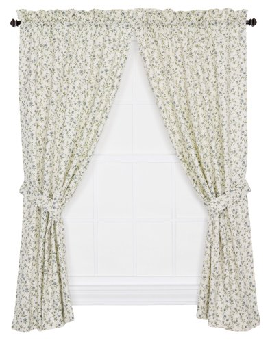 Ellis Curtain Marcia Floral Vine Print Tailored Panel Pair Curtains with Tiebacks, 68 by 63-Inch, Blue