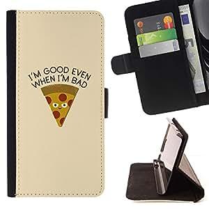 For Sony Xperia Style T3 Case , Pizza Alimentos Foodie minimalista texto- la tarjeta de Crédito Slots PU Funda de cuero Monedero caso cubierta de piel