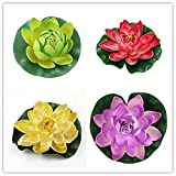 4PCS Set 10cm/4inch Artificial EVA Lotus Floating Water Lily Blooming Foam Flower Head Pool Fish Tank Pond Home Garden Decoration (Color 6)