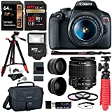 Canon EOS Rebel T7 24MP Camera with EF-S 18-55mm is II Lens, 2 Memory Cards, Slave Flash, 57' Tripod, Camera Bag, Cleaning Kit, Memory Card Reader/Writer Bundle