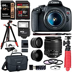 Canon EOS Rebel T7 24MP Camera with EF-S 18-55mm is II Lens, 2 Memory Cards, Slave Flash, 50″ Tripod, Camera Bag, Cleaning Kit and Memory Card Reader/Writer Bundle