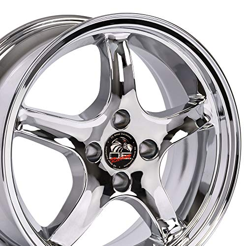 17x9 Wheel Fits Ford Mustang - 4-Lug Cobra R Style Chrome Rim - REAR FITMENT ONLY ()