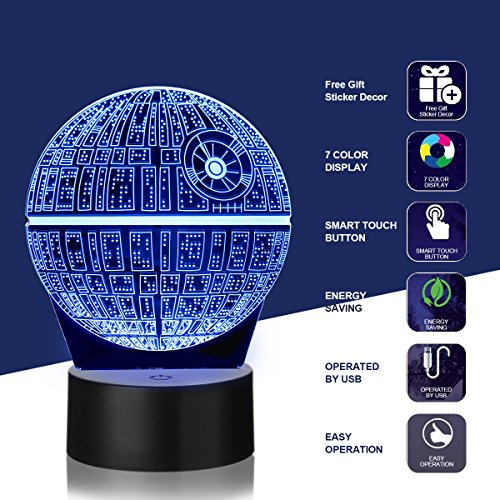Star wars night light - Star Wars Gifts,KEEBO 3D LED Night Light Star Wars,4 kind of Patterns,Millennium Falcon,Death Star,Darth Vader and R2D2,with 7 light modes,power by USB or 3pcs AA batteries