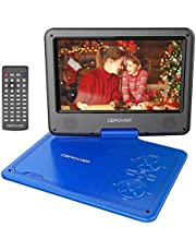 "DBPOWER 11.5"" Portable DVD Player with 9.5"" Swivel Screen, 5-Hour Built-in Rechargeable Battery, Support CD/DVD/SD Card/USB, with Car Charger and Power Adaptor, Blue"
