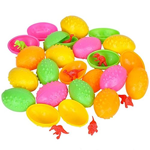 Easter Eggs Filled with Mini Dinosaur Toys Bulk Toys Pack of 24 Dinosaur Toy Figures, Amazing Party Favors, Goody Bag Stuffers, Easter Basket Fillers
