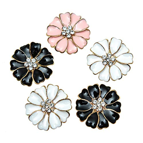 Monrocco 30 Pieces Metal Enamel Rhinestone Crystal Flower Buttons Flatback Embellishments for Crafts Scrapbooking Wedding Party Home Decoration