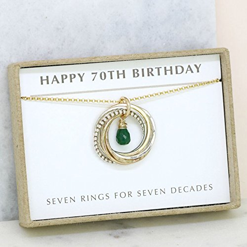 70th Birthday Gift May Birthstone Necklace For Mum Emerald Jewellery