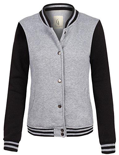 Casual Stylish Street Style Baseball Uniform Coat Jackets 097-Gray_Black Small