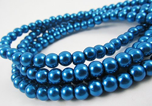 Glass Navy Necklace (Glass Pearl Finish Round Tiny Beads Dark Deep Blue Royal Navy for Handmade Jewerly Necklace Bracelet Beading Supplies faux pearls TOP quality C32 (10mm))