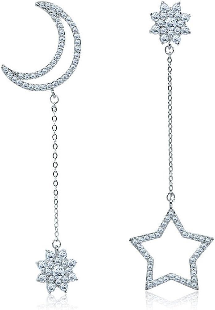 Mujer Plata de ley 925 con blanco cristales estrella y luna pendientes colgantes Novia pendientes