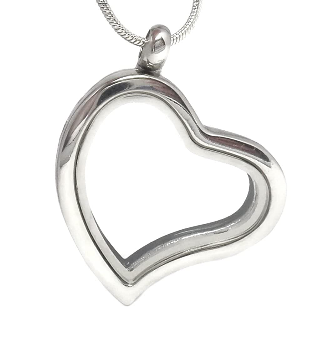 Truly Charming® Silver Heart Memory Locket Necklace for Floating Charms Gift 2070 FBA