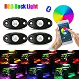 AMBOTHER RGB LED Rock Lights Kits Cell Phone APP Mini Bluetooth Control with 4 pods Waterproof Underglow LED Neon Light Kit for JEEP Off Road Trucks Car ATV SUV Vehicle Boat