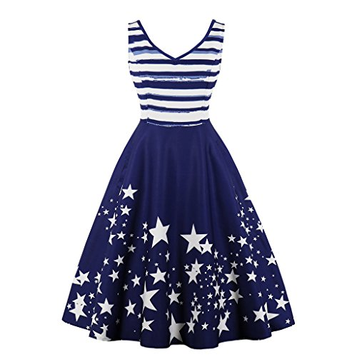 Wellwits Women's Stars and Stripes Tank Vintage Swing Nautical Sailor Dress -
