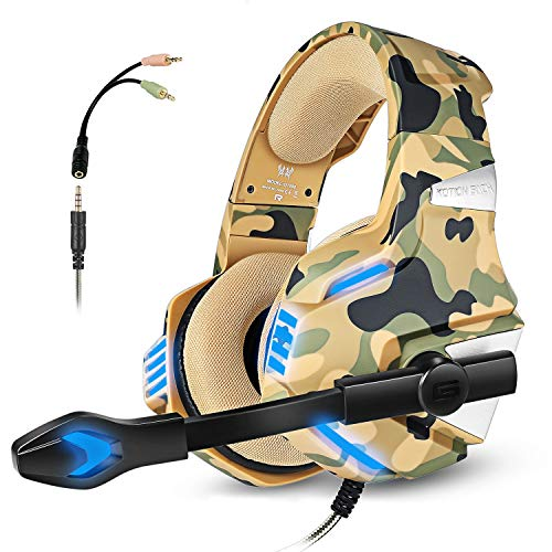 Gaming Headset with Mic for PS4 Xbox One Controller PC Switch Tablet Smartphone, Camouflage Stereo Over Ear Headphones Bass Surround Noise Canceling Microphone LED Light