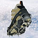 Walk Traction Ice Cleat Spikes Crampons with Stainless Steel Chain, Universal Flexible Anti-Slip
